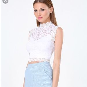 BEBE sleeveless lace crop top